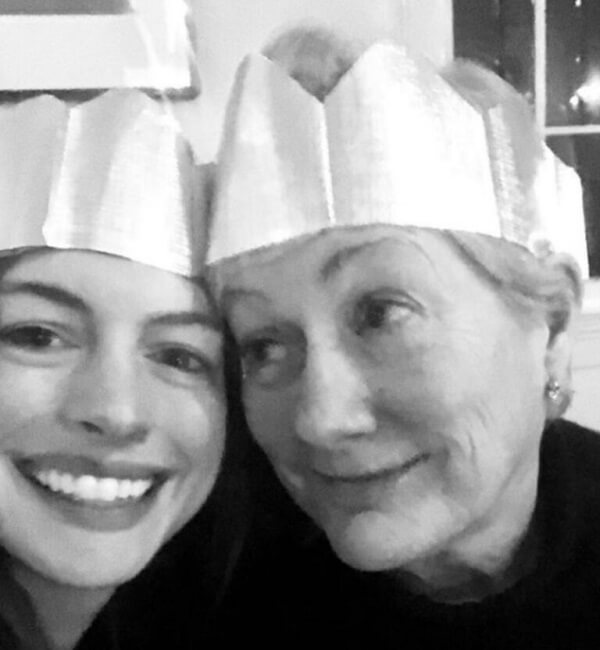 Anne Hathaway and her mother pose for a Mother's Day picture. Anne will star in Amazon Prime's upcoming series, Solos.