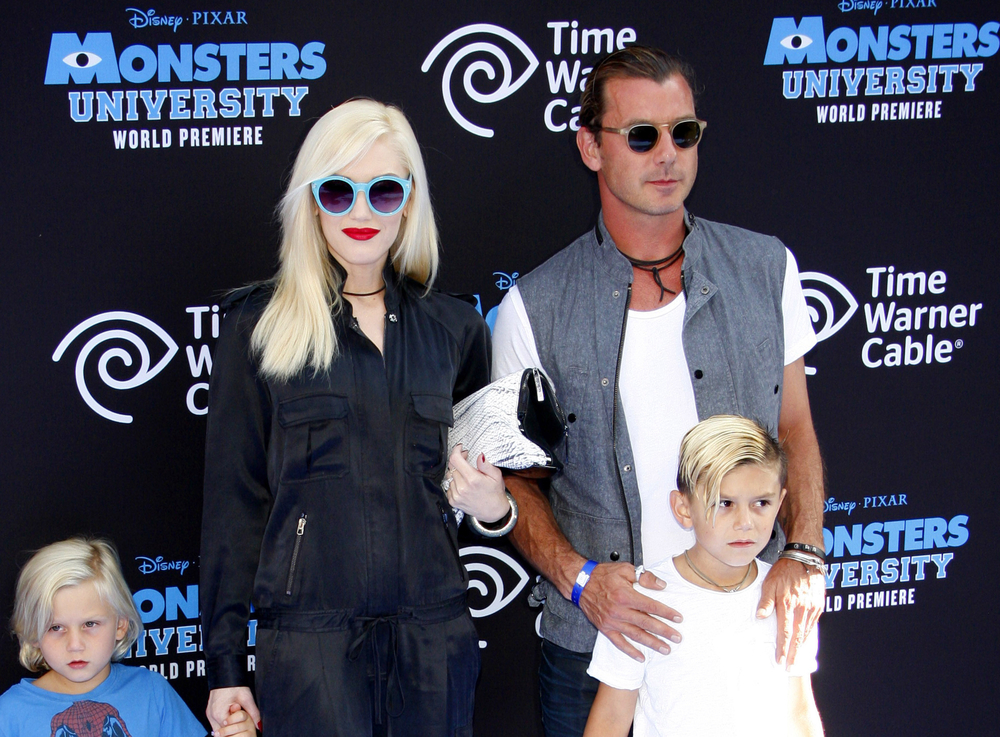 Gavin Rossdale and Gwen Stefani with their children, Zuma (left) and Kingston (right)