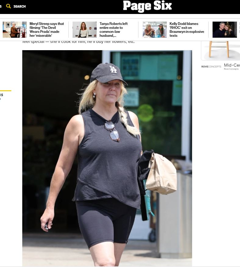 Dressed in a black top and bicycle shorts, Heather Locklear was noticeably heavier in June 2021.