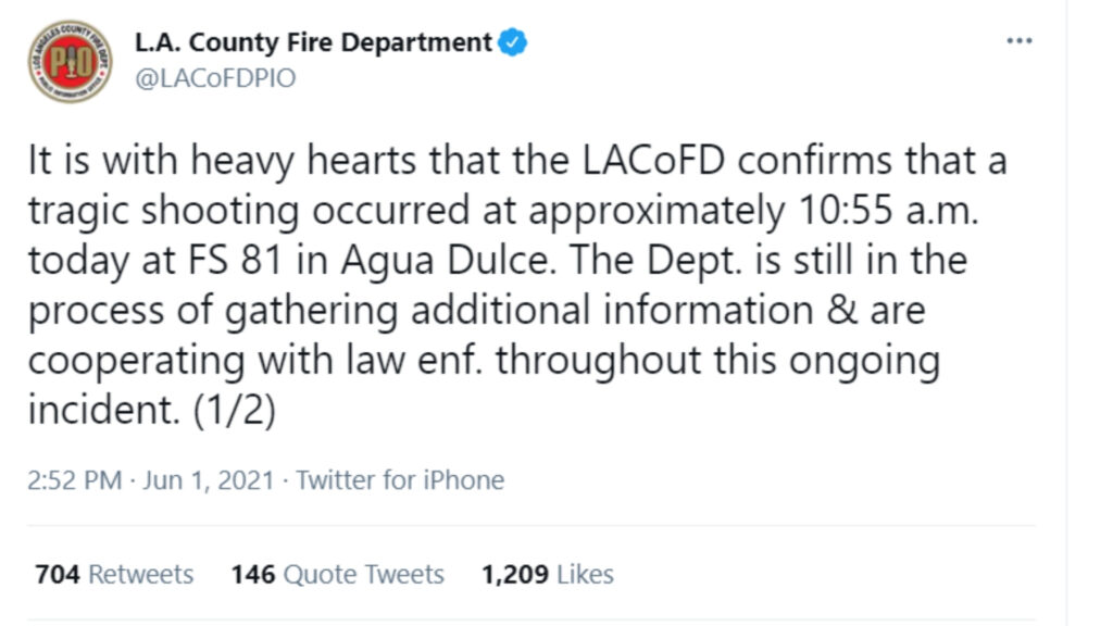 L.A. County Fire Department details the events of the Santa Clarita shooting that left one dead and another injured.