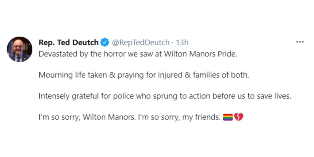 Representative Ted Deutch remarked on Twitter on the tragic incident at the Wilton Manors Pride parade after a man slammed into crowd with his pickup truck.