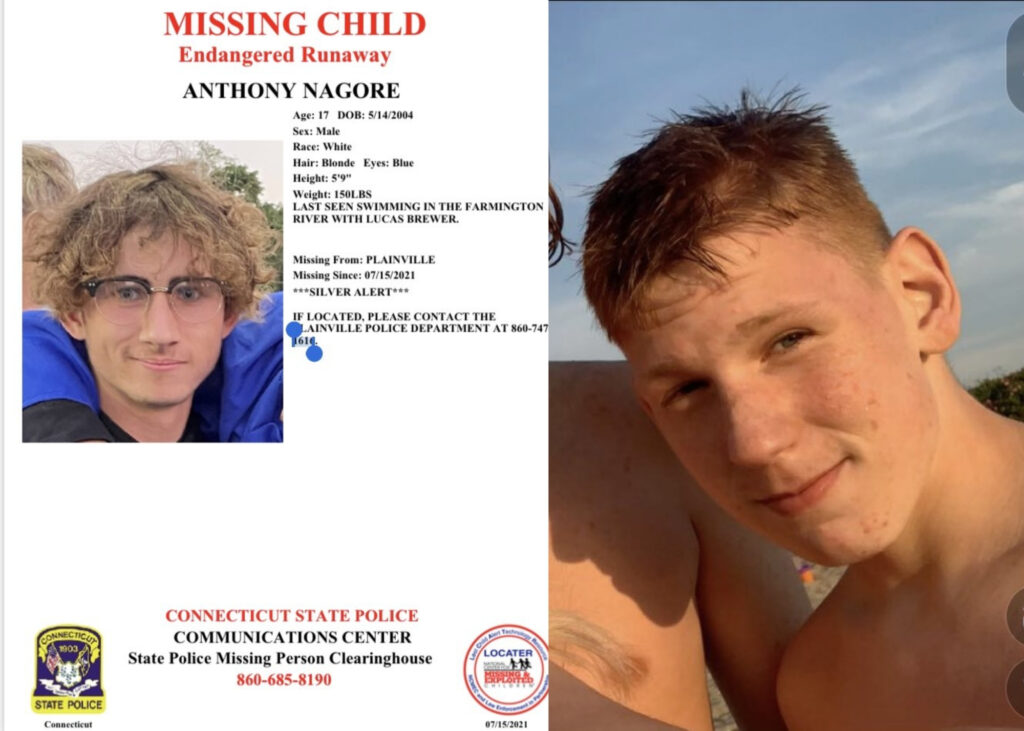 Anthony Nagore (Right) and Lucas Brewer were reported missing on Thursday, July 15 after they didn't come home from a swim in the Farmington River. The river has been swollen lately due to heavy rainfall in Connecticut.