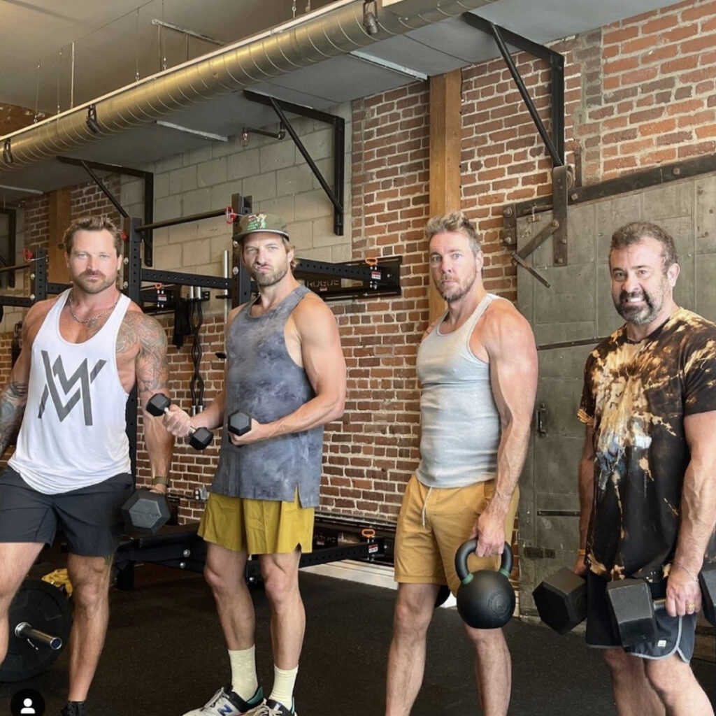 Dax Shepard poses during a Father's Day workout. The actor has gotten 'swole' over quarantine, and he claims Marvel was to blame!