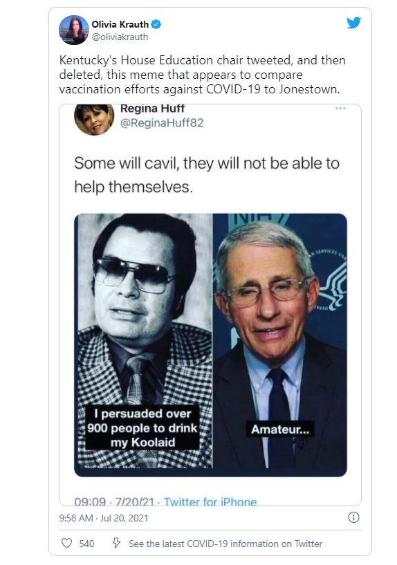 Regina Huff, a lawmaker for Kentucky, tweeted this meme that compared Anthony Fauci to the infamous cult leader, Jim Jones.