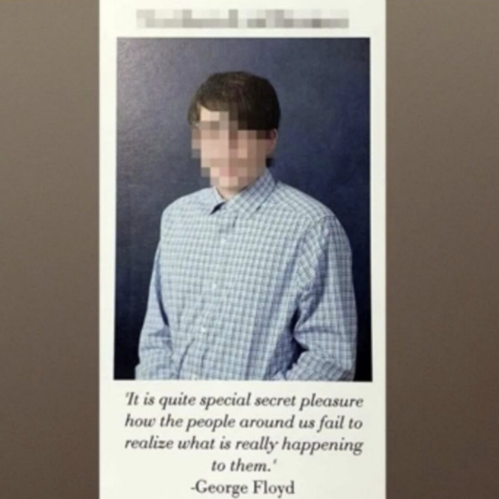 Hollister Tryon is accused of altering his classmates' yearbook quotes into hateful and offensive Nazi propaganda. The former high school student swapped one student's quote for one from Adolf Hitler, wrongfully attributing it to the late George Floyd.