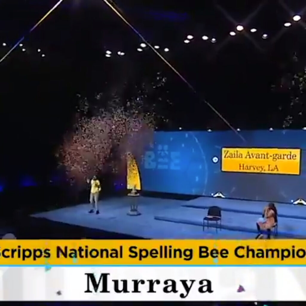 Zaila Avant-garde clinches win during the 93rd Scripps National Spelling Bee. The winning word: Murraya.