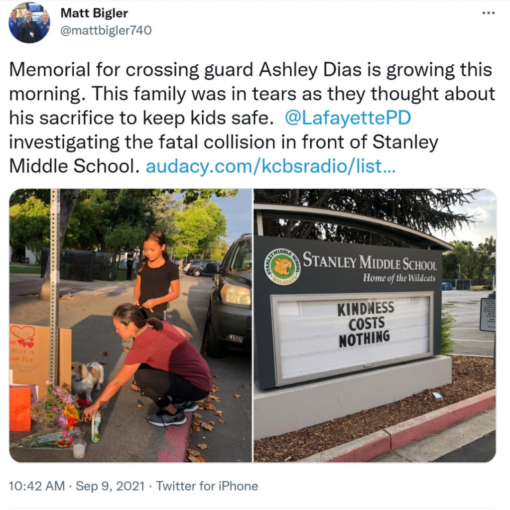 Stanley Middle School students contributed to a beautiful memorial for Ashley Dias, the hero crossing guard who rescued kids before being hit by a car Wednesday afternoon.