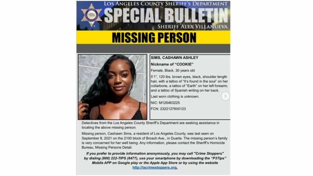 Ca'Shawn Ashley Sims was last seen on September 7 in Duarte, CA. Her family is worried for her safety and says that the 30-year-old suffers from mental health issues that developed during the Covid-19 pandemic. (Credit: Instagram)