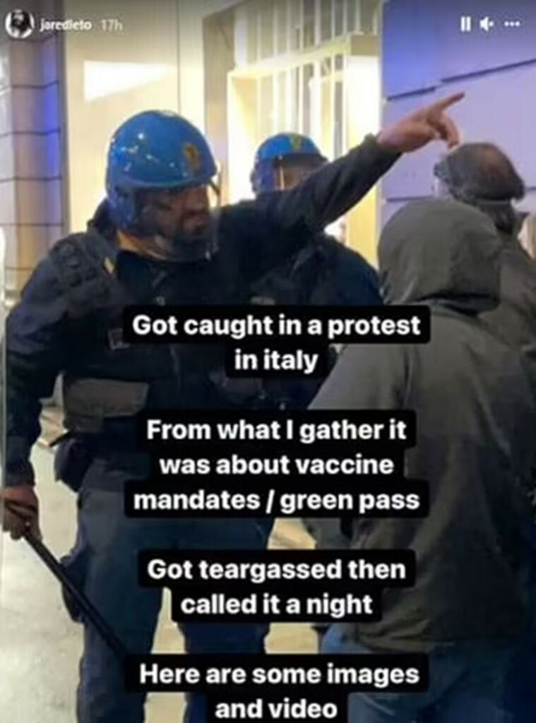Jared Leto's Instagram story sharing his experience in Rome's Anti-Covid pass protest